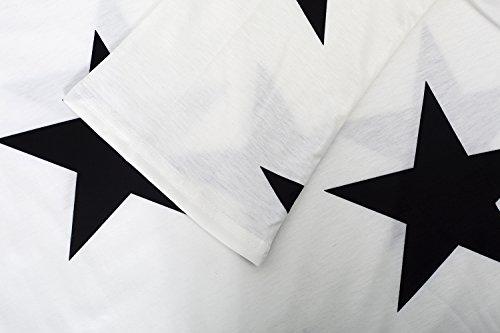 Yidarton Donna Maglia a Maniche Lunghe con Spalla in Mostra, Stampa con Stelle Bianco