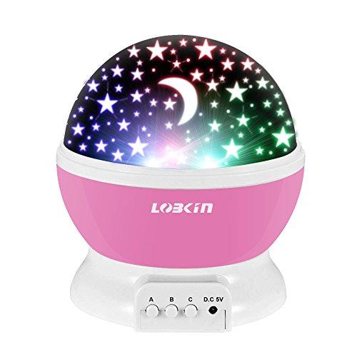 Projektor Lampe LOBKIN LED Sterne Nachtlicht, 360 Grad Kinder Drehbare Sternenlichter, LED Nachttischlampe für Schlafzimmer, Party und Romantische Dekorationen (Rosa)