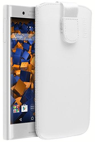 mumbi ECHT Ledertasche Sony Xperia XCompact Tasche Leder Etui weiss (Lasche mit Rückzugfunktion Ausziehhilfe)