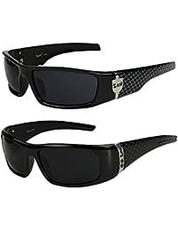 2er Pack Locs 9069 X09 Sonnenbrillen Motorradbrille Sportbrille Radbrille in der Farbe schwarz