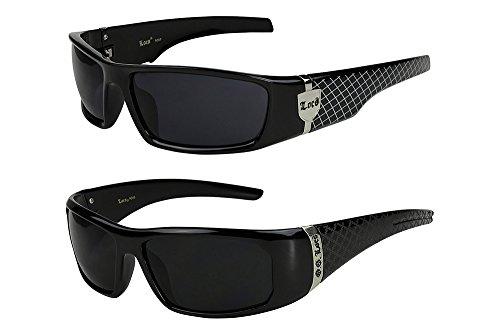 2er Pack Locs 9069 X04 Sonnenbrillen Herren Damen Männer Brille - 1x Modell 01 (schwarz glänzend - Grid-Design/schwarz getönt) und 1x Modell 05 (schwarz glänzend - Square-Design/schwarz getönt)