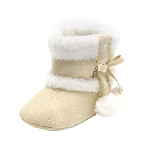 Ears Jungen Baby Schnee Boot SchuheToddler Baby Girl Boy Soft Hairball Booties Schneeschuhe Infant Kleinkind Erwärmung Krippe Schuhe (11, Beige) (Elf Kleinkind Schuhe)