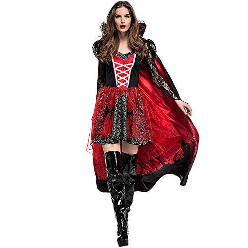 (Zhongsufei Halloween-Spiele-Party Erwachsene Frauen Gedruckt Umhang Vampir GRAF Königin Halloween Kostüm Damen Retro Gericht Cosplay Kostüm Maskerade-Abendkleid (Größe : M))