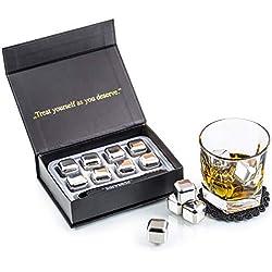 Ensemble de Cadeaux Pierre a Whisky Exclusives en Acier Inoxydable - Haute Technologie de Refroidissement - 8 Glaçons Reutilisable - Whisky Stones Gift Set - Cadeau Homme + Pincettes et Sous-verre