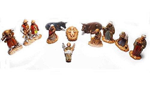 Generico ricevi 11 pastori in plastica landi alti 3,5 cm nativita angelo bue asino maria giuseppe gesu' per presepe s. gregorio armeno ricevi un portachiavi omaggio shepherds crib