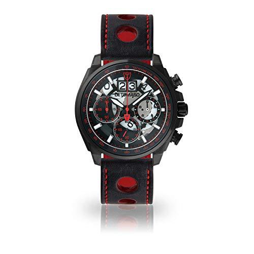 DETOMASO LIVELLO DT2060-B-836 - Reloj de Pulsera para Hombre, cronógrafo, analógico, Cuarzo, Correa de Piel Negra, Esfera Negra