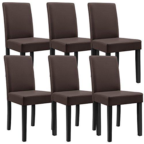 [en.casa]®] 6 sillas tapizadas (marrón - Mate) (Alta Calidad) con Patas de...