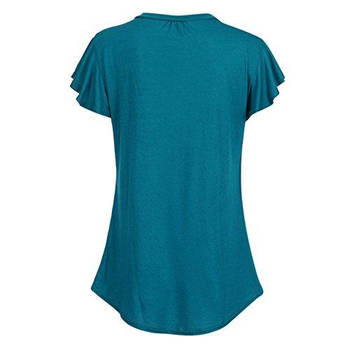 Malloom Frauen übersteigt Chiffon- Bluse, Frauen-Feste Reihen-Falten gekräuselte mit Rüschen besetzte O-Ansatz Kurzschluss-Hülsen-unregelmäßige T-Shirt Oberseiten -