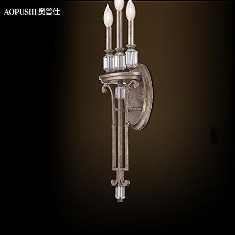 Europeo antico tre teste vecchio cristallo decorativo lampada da parete