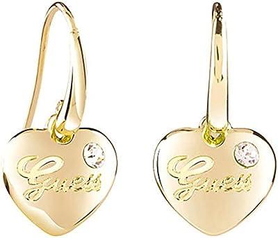 Guess para mujer-Pendientes de corazones rosas de latón chapado en oro de parte de cristal blanco - UBE21517