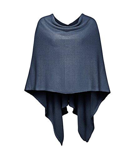 Cashmere Dreams Poncho-Schal aus Baumwolle - Hochwertiges Cape für Damen - XXL Umhängetuch und Tunika - Strick-Pullover - Sweatshirt - Stola für Sommer und Winter Zwillingsherz (blau)