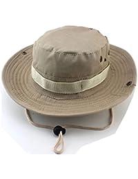 GenialES Sombrero de Pescador Adulto Unisexo Táctico Verano Anti-UV Boonie Hat Mountaña Senderismo Pesca Caza Caqui