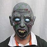 Nwarmsouth Máscara Espeluznante Espeluznante del Fantasma del Zombi, Halloween Nightclub Carnival Venom White Eyes Zombie Rotten Face Mask, Máscara de látex Animal Head