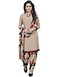 Pink Wish Women's French Crepe Unstitched Salwar Suit Material with Dupatta (PW_AD CHIKU_D_RED_Free Size)