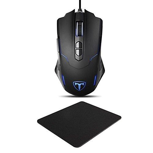 Gaming Maus und Mauspad Set, Pictek 7200DPI Gaming Mouse LED Programmierbare Gaming Mouse mit Pro Gaming Mousepad, 7 Tasten, 1.8M USB Kabel für Pro Gamer Spieler/ Windows XP/Visa/7/8/10/Laptop/PC