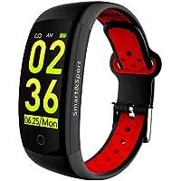 AYUE Fitness Tracker Watch, IP68 Swim Resistente Al Agua HD Color Screen Smart Bracelet, HR / Oxígeno Sanguíneo / Presión / Calorías / Sleep Monitor, Rastreador De Actividad Podómetro BLE 4.0 Android / Ios (Azul),Red