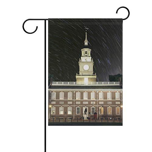 SUNOP Polyester-Gartenflagge Independence Hall Star Trails Banner 30,5 x 45,7 cm für den Außenbereich, Haus, Garten, Blumentopf, Dekoration, Partyzubehör, Hausflagge