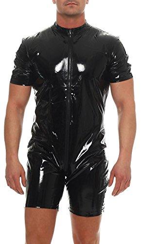 Kurzarm-Catsuit Overall Lack-Look * Gr. S M L XL XXL * Gothic Fetisch Männer Herren Übergröße plus size (900266 Gr. M)