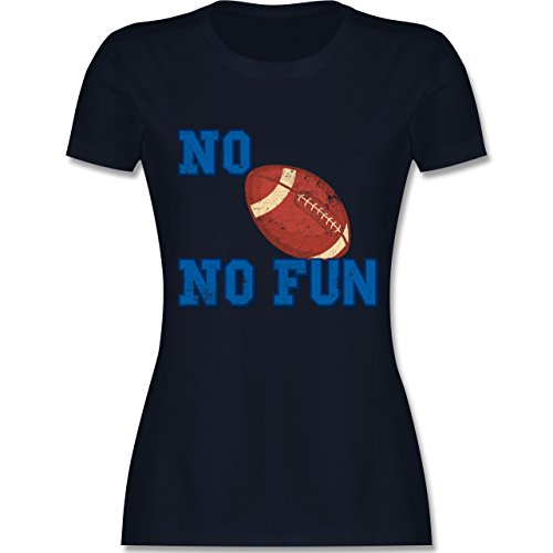 Shirtracer Sonstige Sportarten - No Football No Fun Vintage - Damen T-Shirt Rundhals Navy Blau