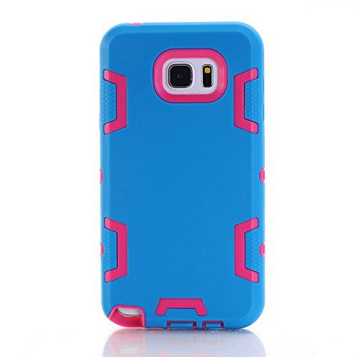 Samsung Galaxy Note 5 Hülle, Forhouse Ultra Slim [TPU + PC][Dual Layer][Roboter-Muster] Schutzhülle [Anti-Rutsch-] Shock-Absorption-Abdeckung für Samsung Galaxy Note 5 (Blue + Pink) (Galaxy Note 3 Fall Roboter)