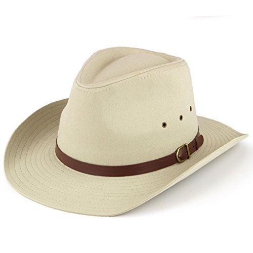 Hawkins breit Stetson Hut mit Lüftung Löcher schwarz oder beige - Beige, 57cm