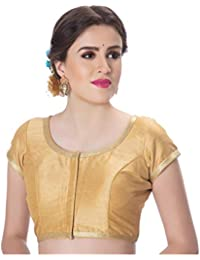 f8614e97e2d7e Rinkoo Womens Dupion Silk Designer Princess Cut Padded Short Sleeves Golden  Lace Border Readymade Saree Blouse
