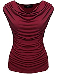 Zeagoo Women's Summer Sexy Sleeveless Ruched Cowl Neck Casual Stretchy Top Blouse