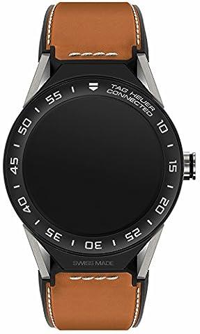 Tag Heuer Connected Modular sbf8a8001.11ft6110Quartz Watch (Rechargeable) Titanium quandrante Black Leather Strap