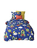 Aminata Kids - Kinder-Bettwäsche 100-x-135 cm Baby-Bettwäsche Weltraum-Motiv Weltall Astronaut Universum Planet-en 100-% Baumwolle Renforce blau grün