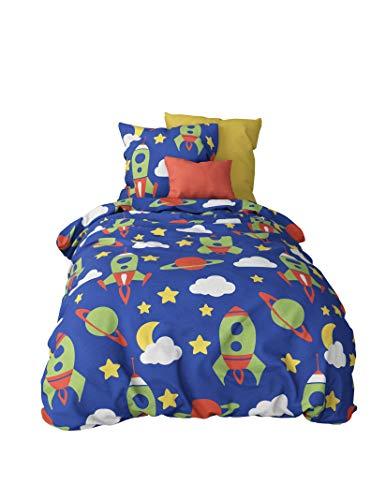 feuerwehr bettwaesche fuer erwachsene Aminata Kids - Kinder-Bettwäsche 100-x-135 cm Baby-Bettwäsche Weltraum-Motiv Weltall Astronaut Universum Planet-en 100-% Baumwolle Renforce blau grün