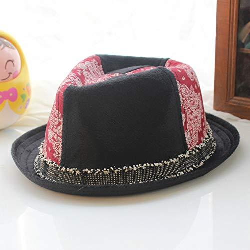 Breaking Baby Bad Kostüm - mlpnko Kinder Zylinder Cord Junge Jazz Hut Baby Hut Hut Mode Hut Totem rot M57cm