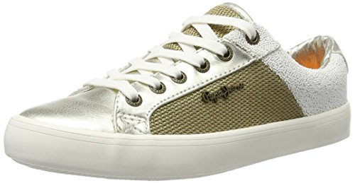 Pepe Jeans Clinton Mesh Gold, Sneakers Basses Femme