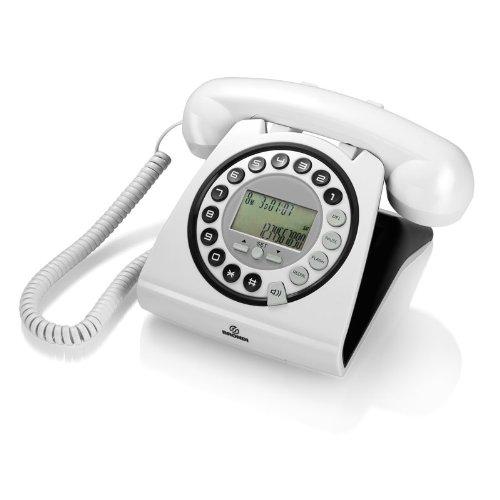 Brondi Hallo - Teléfono fijo digital (pantalla LCD, identificador de llamadas, reloj), blanco