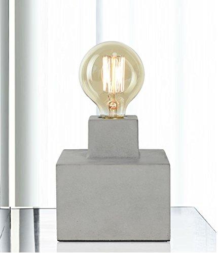 Tischlampe Schreibtischlampe Glühlampe Retro Vintage Antike für Schlafzimmer Zement Sockel Mit 40W Birne Grau