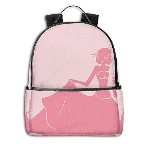 Side Panel Dress (College School Backpacks,Bride In Pink Wedding Dress with Flowers Sketchy Image,Casual Hiking Travel Daypack)