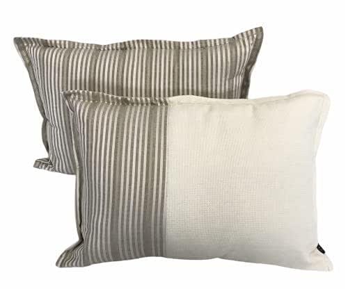 Silk Satin Striped Decorative Pillow & Cushion Cover Set | Mink Satin Color | 2 piece 35 X 50 cm | Ultra-soft decorative cushion cover with silk satin and cotton stripes
