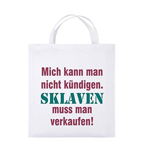 Comedy Bags - Mich kann man nicht kündigen. Sklaven muss man verkaufen! - Jutebeutel - kurze Henkel - 38x42cm - Farbe: Schwarz / Weiss-Neongrün Weiss / Fuchsia-Türkis