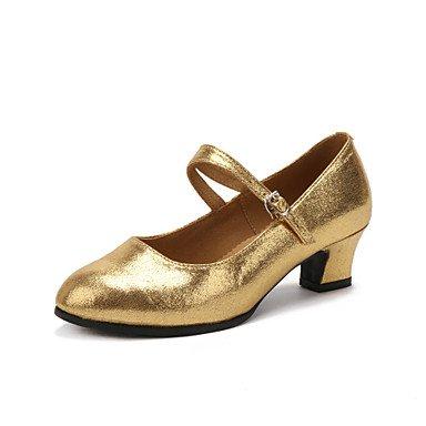 Silence @ Chaussures de danse pour femme en similicuir en similicuir Latin talons Talon cubain professionnel Noir/rouge/argenté/doré noir