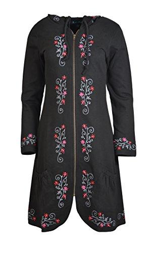 TATTOPANI Damen Reißverschluss geschlossen Jacke mit Stickerei TC-TJK376-BLK-S