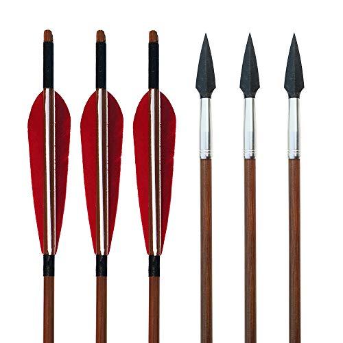 """SHARROW 6 Stück Bogenschießen Bambuspfeile mit 5"""" Naturfedern für Recurvebogen Traditioneller Langbogen Horsebow Jagdziel Übungspfeile (Typ 5)"""