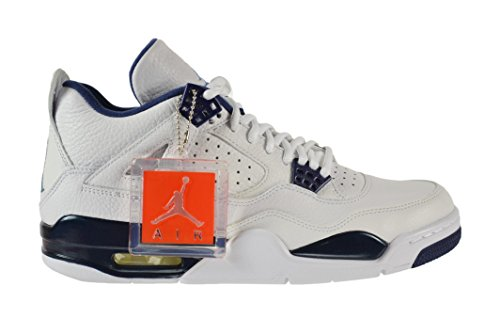 Nike Herren Air Jordan 4 Retro Ls Basketballschuhe, Schwarz white/legend blue-mdnght navy