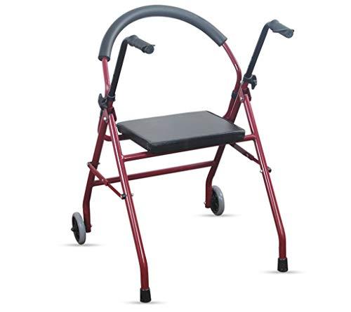 Gehhilfe, Gehhilfe Alter Mann zusammenklappen Mit Sitz Gehhilfe Verkehrshilfe Gehhilfe Riemenrad Reha-Training Lager stark