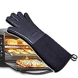 JIALUN-Handschuhe Wasserdichte rutschfeste Topflappen Hitzebeständige Handschuhe Küche Silikon Topflappen für Grill, Kochen, Backen (Color : Black, UnitCount : One)