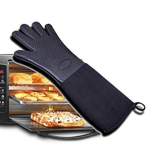 NEW Guantes para asar a la parilla, guantes resistentes al calor, asadores de silicona para cocinas a la barbacoa, agarraderas antideslizantes impermeables para barbacoas, cocción
