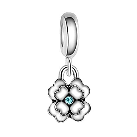Bling Stars Sakura Flower With Blue Crystal Dangle Charm Bead Fits Pandora Charms Bracelet
