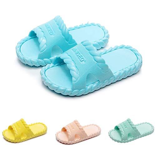 Dorical Badelatschen Kinder Unisex Badeschuhe Jungen Dusch-& Badeschuhe Badelatschen Mädchen Rutschfeste Badeschlappen Weich Pantoletten Hausschuhe Sommer Strand Sandale Slipper(Blau,31 EU)