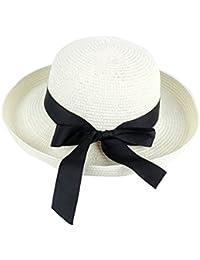 Femme Chapeau de Paille Chapeau Panama Chapeau de soleil Grand Bord avec Bande Mignonne