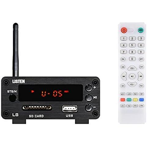 ONEU inalámbrico clase D HIFI Digtal de alta potencia de audio estéreo Mini amplificador de coche Home Bluetooth con lector de SD/USB y fuente de alimentación