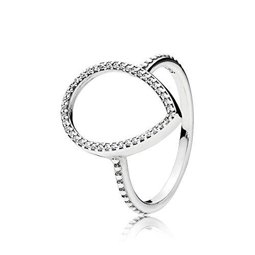 Pandora Damen Ring Tropfensilhouette in silber mit weißen Zirkonia besetzt