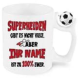 Fussball Namenstasse Männer/Frauen Superheld/Superheldinnen zb. mit Bruno bedruckt. Einfach Anpassen klicken und den Namen eintragen.
